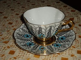 Rosina China England Tea Cup and Saucer Pattern #5197 Turquoise Accents - $27.72
