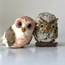 "Vintage Artisan Miniature Owls Wood Pulp Paper 1 1/2"" Tall lot of 2 Figures - $24.74"