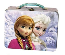 Disney's Frozen Anna and Elsa Embossed Carry All Tin Tote Lunchbox Purple UNUSED - $13.31