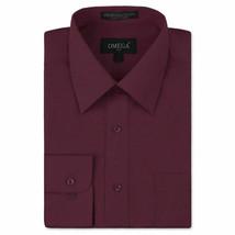 Omega Italy Men Burgundy Classic Fit Standard Cuff Solid Dress Shirt - 5XL