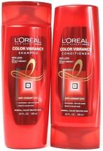 2 L'oreal Color Vibrancy Shampoo Conditioner Set Anti Oxidant Nourishes 20 oz - $24.99