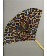 "Hand designed ""hot Flash"" Leopard Art Fan With Feathers And Glass - $10.00"