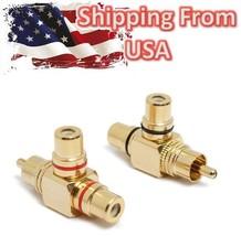 2pcs RCA Splitter Male to 2 Female Copper Gold Adapter AV Video Audio T Plug US - $7.90