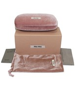 NEW AUTH MIU MIU PINK VELOUR CLAM SHELL HARD SUNGLASSES EYEGLASSES CASE ... - $35.00