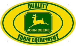 Quality Farm Equipment John Deere Logo Yellow/Green Oval Metal Sign - $49.95