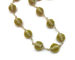 Beaded Round Necklace, Beaded link Necklace, Wire wrapped Necklace, Golden Grass - $44.51 CAD