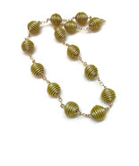 Beaded Round Necklace, Beaded link Necklace, Wire wrapped Necklace, Gold... - $33.60