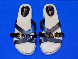5.5 B Cole Haan Ladies Womens Shoes Sandals Flat Black Leather Patent Es... - $24.99