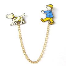 Brooch Boy Walk Dog Leash Cartoon Comic Character Lovely Fun Unisex Lapel Pin - $7.99