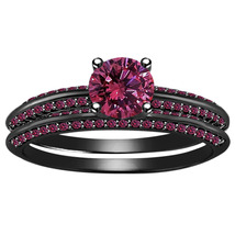 14K Black Gold Fn 925 Sterling Silver Round Cut Pink Sapphire Bridal Ring Set - $118.99