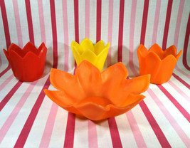 Fantastic 1960's Plastic 4pc Lotus Flower Patio Candle Holders and Bowl Set - $10.00