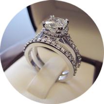 14k White Gold Plated 925 Silver Princess Cut Diamond Wedding Bridal Ring Set - $93.47