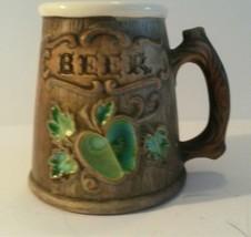 Vintage Treasure Craft Beer Mug Green Apple Brown Beer Barrel Look USA - $9.89