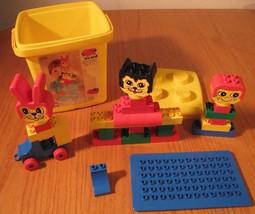 Duplo Lego Legos 2376 Vintage Set w/ Animal Heads In Yellow Bin - $24.74