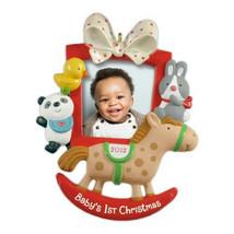 Baby's First Christmas 2012 Hallmark Photo Ornament Family Baby Horse Bu... - $11.86