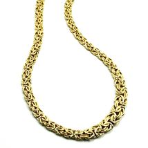 """18K YELLOW GOLD FLAT BYZANTINE NECKLACE CHOKER 7/10mm, 45cm, 18"""", MADE IN ITALY image 6"""