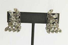 ESTATE VINTAGE Jewelry HIGH END HAND SET WIRED RHINESTONE RUNWAY EARRINGS - $10.00