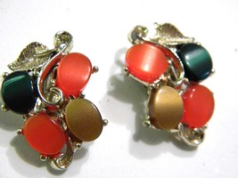 Brown Green Orange Thermoplastic Vintage Clip On Earrings - $14.09