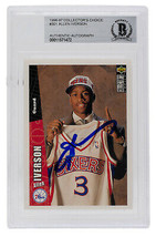 Allen Iverson Signed 1996-1997 Collectors Choice #301 76ers RC Card Slab... - £104.07 GBP