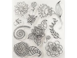 Mixed Flowers and Leaves Clear Stamp Set