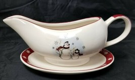 Royal Seasons Stoneware Gravy Boat:  Snowman Christmas 2 pc set Dishwash... - $12.59
