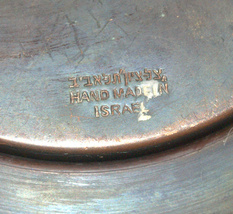 Judaica Israel Vintage Copper Plate Tray Zel Zion Signed 1960's Wall Hang image 5