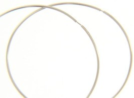 18K WHITE GOLD ROUND CIRCLE HOOP EARRINGS DIAMETER 50 MM x 1 MM, MADE IN ITALY image 1