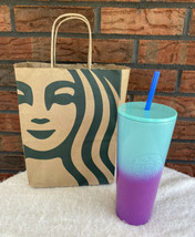 Starbucks 2021 Purple Teal Blue Ombre Stainless Steel Cold Cup Tumbler S... - $71.25