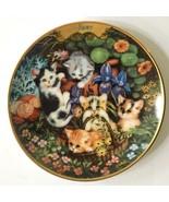 JUNE Timeless Tails Purr-petual Calendar Plate Perpetual Cat Kitten Flor... - $19.79
