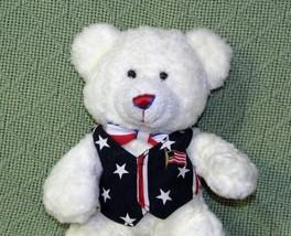 CARLTON CARDS USA TEDDY BEAR White Plush Bean Bag Stars Stripes Vest Fla... - $18.69