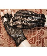 Black Cotton Crohet Gloves Half Finger - $14.00