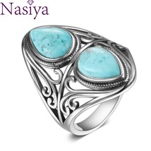925  Silver Rings Original Design Vintage  Turquoise Ring for Women Men ... - $30.69