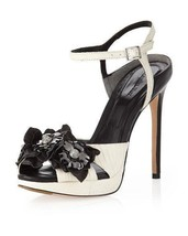 $375 Rachel Roy Crystals Flower Black Pump Ivory Open Toe Sandals Pumps ... - €97,21 EUR