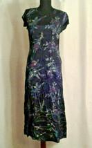Laura Ashley 6 long floral dress VTG Blue Purple Flowers Green - $35.00