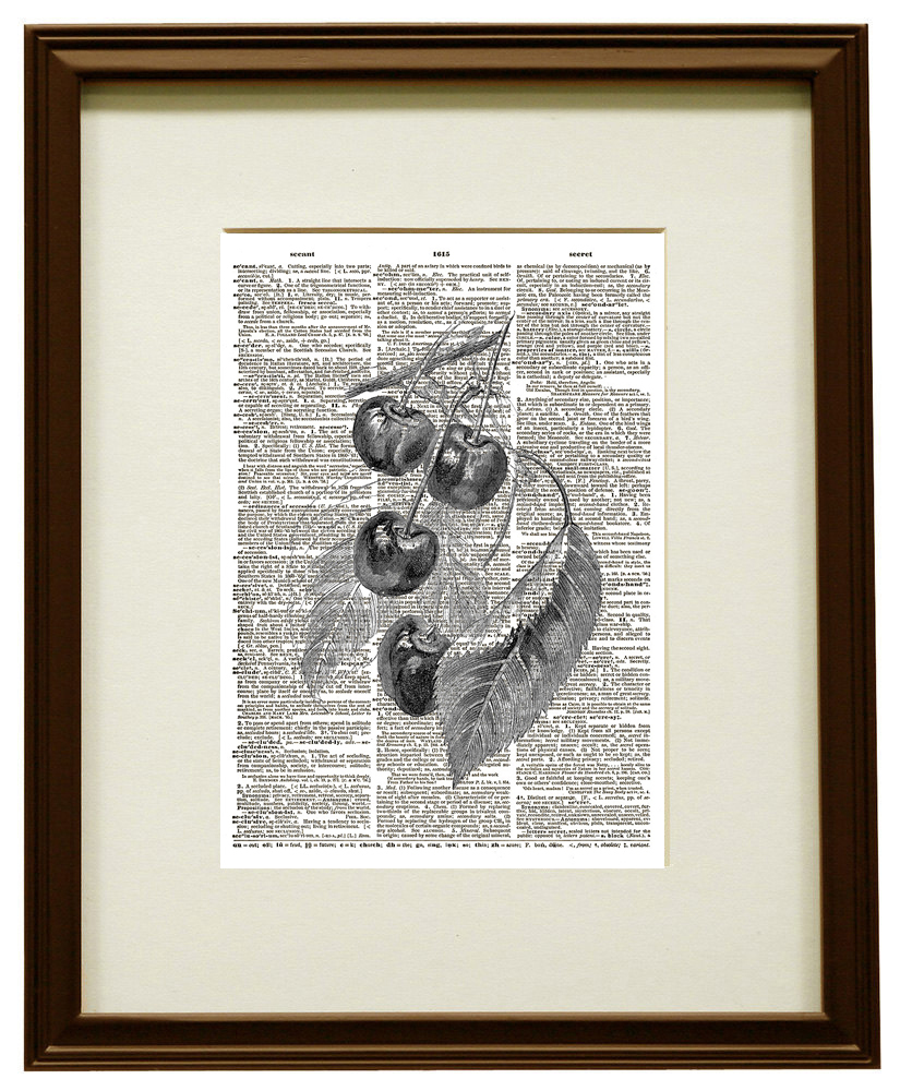 CHERRIES on a BRANCH Vintage Dictionary Page Art Print No. 0124