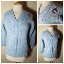 Moseley Vintage Women's Sweater 100% Shetland Wool Retro Blue V-Neck + B... - $16.73