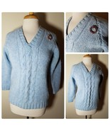 Moseley Vintage Women's Sweater 100% Shetland Wool Retro Blue V-Neck + B... - $16.73