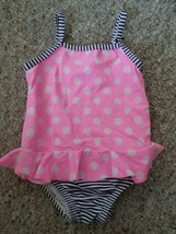 CARTER'S Pink Polka Dot Skirted One Piece Bathing Suit Girls Size 12 months - $2.88