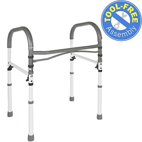 Vaunn Deluxe Bathroom Safety Toilet Rail - Adjustable Toilet Safety Frame - Medi