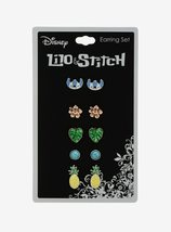 Disney Lilo & Stitch Tropical Earrings 5 Set, Leaf, Pineapple, Flower, Stitch  - $16.99