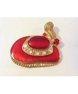 Vintage jewelry goldtone Ladies Hat enamel brooch - $6.00