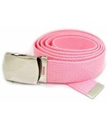 Lady's Pink Military Canvas Web Belt Silver Buckle New Army Style Webbing - $12.00