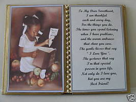 SWEETHEART BIRTHDAY/CHRISTMAS/MOTHERS DAY/GIRL W BOOK - $12.00