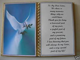 SISTER BIRTHDAY/CHRISTMAS/MOTHERS DAY GIFT/ WHITE DOVE - $12.00