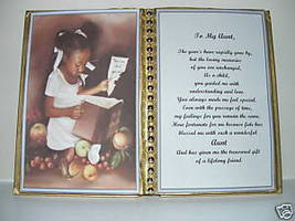 AUNT BIRTHDAY/CHRISTMAS/MOTHERS DAY GIFT/GIRL W BOOK - $12.00