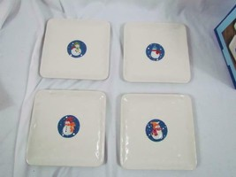 """Vintage St. Nicholas Square Snow Days Set of 4 Appetizer Plates 6""""x6"""" - $23.74"""