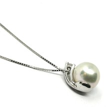 18K WHITE GOLD NECKLACE & PENDANT, SALTWATER AKOYA PEARL 7.5/8 MM, DIAMOND 0.07 image 2