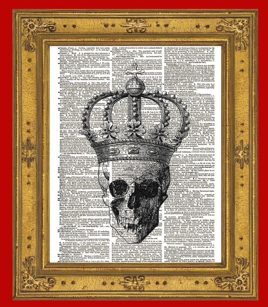SKULL with CROWN Vintage Dictionary Page Art No.