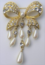 Crystal Rhinestone Dangle Vintage Brooch Faux Pearl Bow Extra Long Pin - $14.99