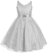 Flower Girl Dress V-Neck Lace Rhinestone Brooch Silver GG 3511 - $34.64+